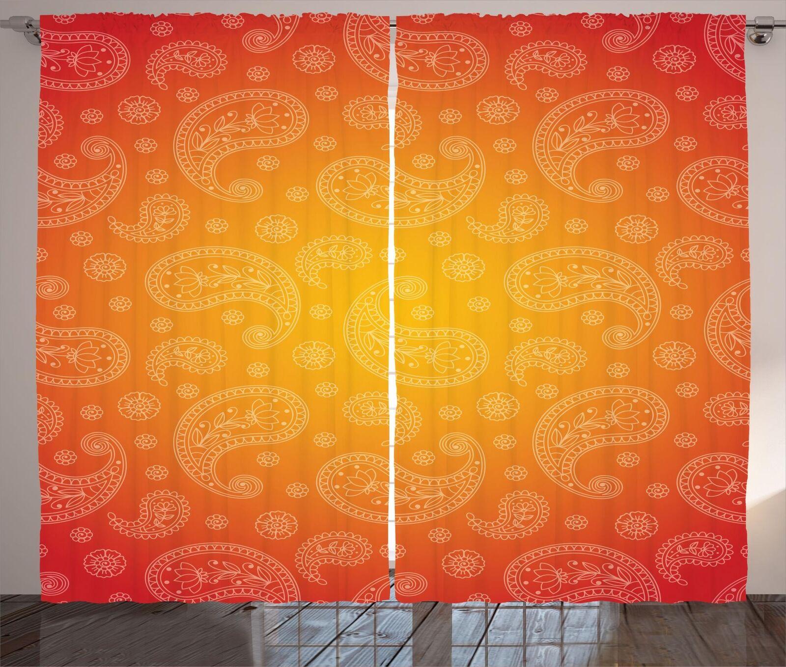 Conjunto de 2 Paneles Cortinas Bohemio Abstracto Decoración 5 tamaños de ventana Cortinas