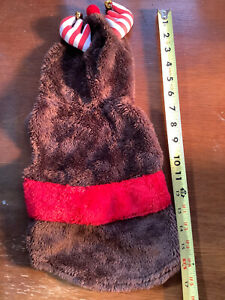 Dog-Christmas-Reindeer-Costume-Sz-S-Pet-Clothes-Brown-Velour-W-antler-bells-VGUC