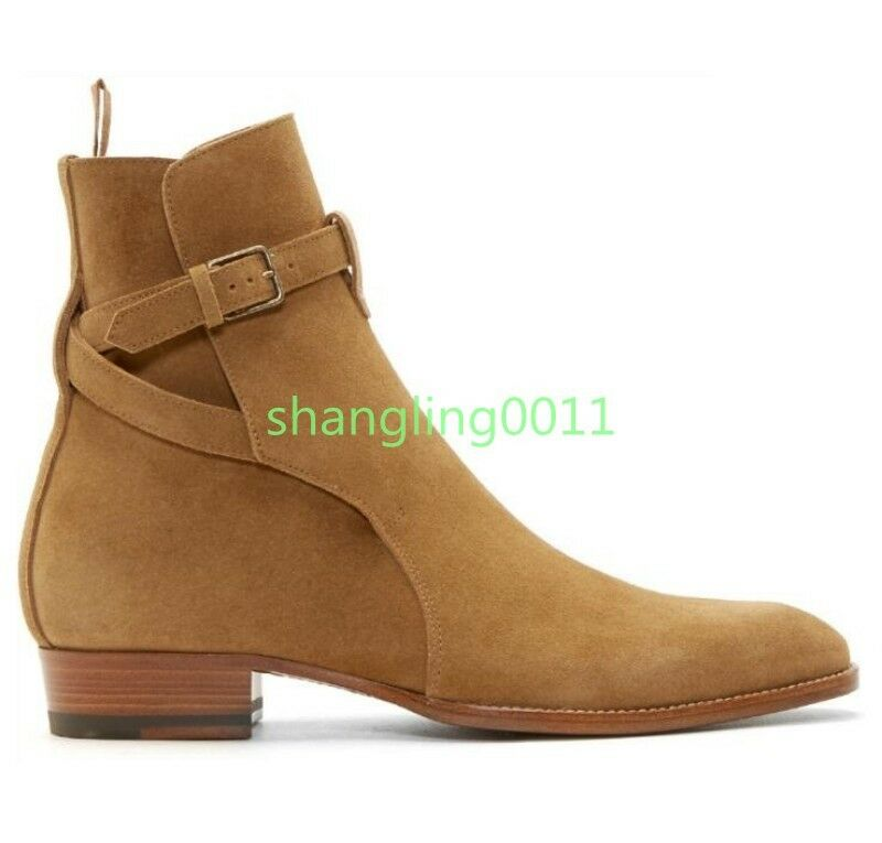 Mens British Vintage Suede Leather Pointed Toe Cowboy Ankle Boots Combat Shoes
