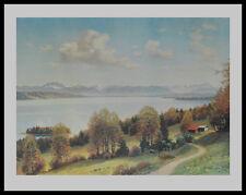 Josef Sussmayr Starnberger See mit Roseninsel Poster Kunstdruck & Rahmen 70x90cm