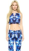 Milly Women's Floral Mirage Print Crop Tank - Blue Size 8