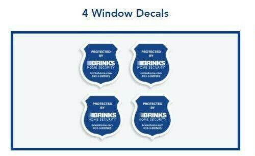 NEW 2019 Weatherproof Brinks Home Security 4 Stickers Kit for Windows /& Doors