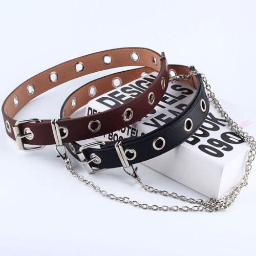 Women Punk Chain Belt Adjustable Black Double//Single Eyelet Leather BuckleBUULK