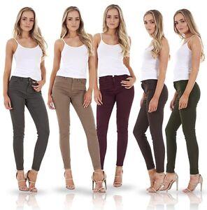 Damas-Ajustado-Jeggings-Stretch-Skinny-Denim-Talla-Grande-Color-Liso-Jeans