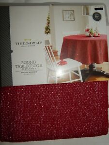 Image Is Loading Threshold Tablecloth Round 70 034 Red Silver Ruby