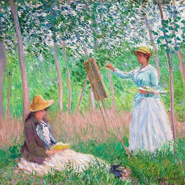Claude Monet  In the Woods of Giverny Keilrahmen-Bild Leinwand Mädchen Wald