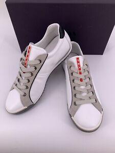 Details zu Prada Original Luxus Herren Schuhe Turnschuhe Sneaker Leder weiß Gr, 7 41