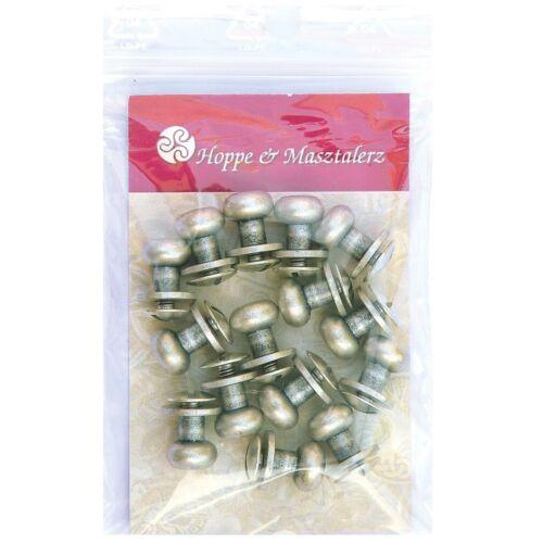 15 Knopfschraubnieten Patronentaschenverschluss 8mm silber-antik
