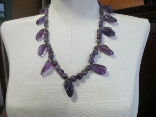 18 Purple Agate Chips Bead Strand Necklace With Sterling Clasp