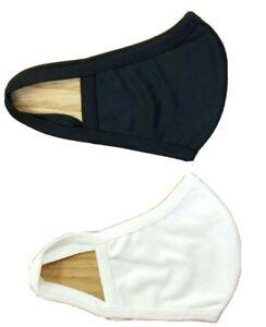 2 -Cotton Face Mask Reusable (2pcs 1black/1white) Two Layer Antiviral Protection