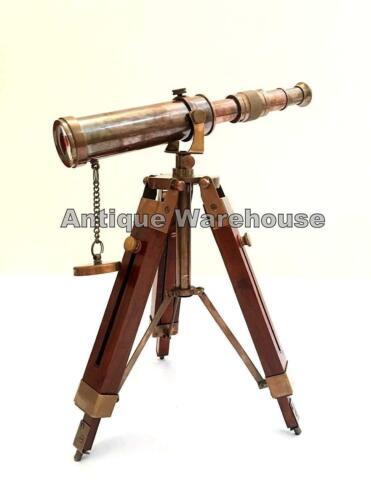 Nautical Scope Pirate Spyglass Vintage Brass Telescope With Wooden Tripod Decor