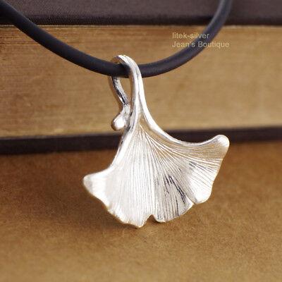 Ginkgo leaf pendant 925 sterling silver b305