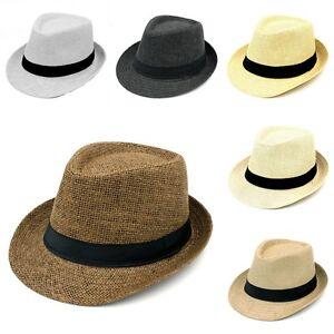 5cd452f5318c8 Men Women Summer Straw Hat Fedora Trilby Hats Beach Caps Black Band ...