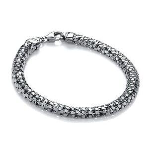 j-jaz-femmes-19-1cm-ARGENT-STERLING-FORME-D-ruthenium-COULEUR-Bracelet-en-maille