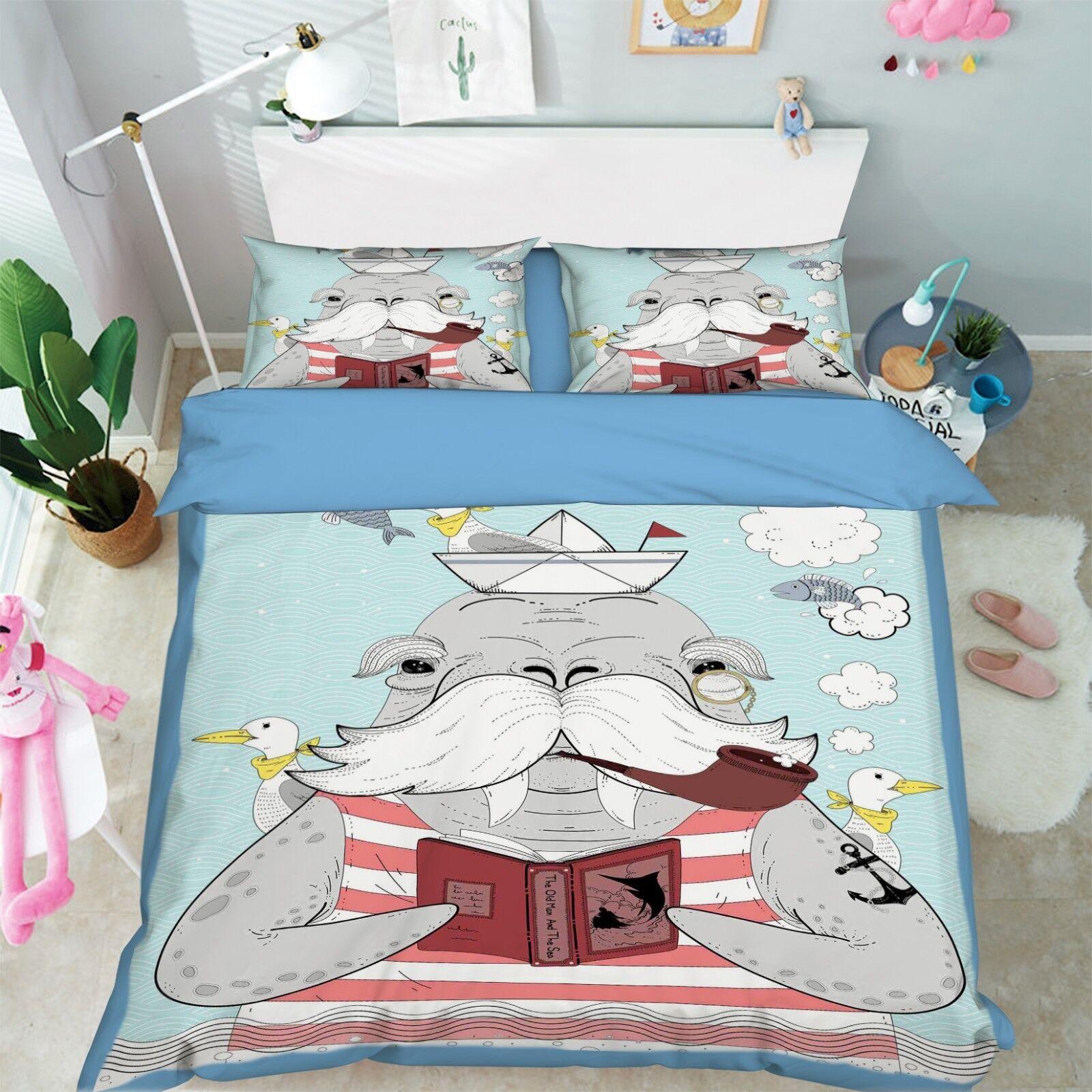 3D Cartoon Turtle 67 Bed Pillowcases Quilt Duvet Cover Set Single King UK Summer