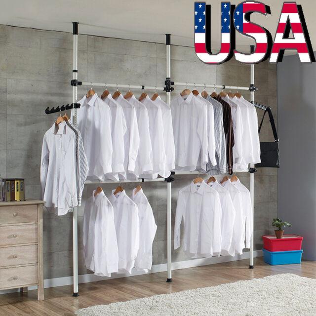 4 Poles Adjustable Heavy Duty Rail Clothes Hanger Closet Garment