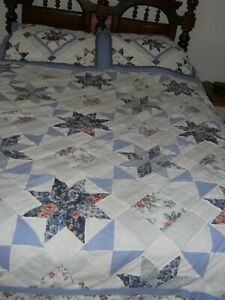 QUEEN-89-x-86-Quilted-Spread-amp-2-standard-Shams-Blue-White-Quilted-design