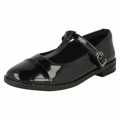 Girls Clarks Formal Buckled T-Bar Patent Leather School Shoes Drew Shine