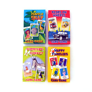 Happy-Families-Wheels-Pairs-Donkey-Jungle-Snap-Card-Games-Children-039-s-Classics
