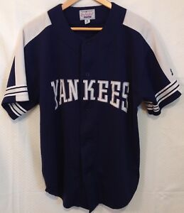 new arrival c7656 3bb14 Details about Vintage New York Yankees Starter Navy Blue Plain Button  Jersey Mens Size Medium