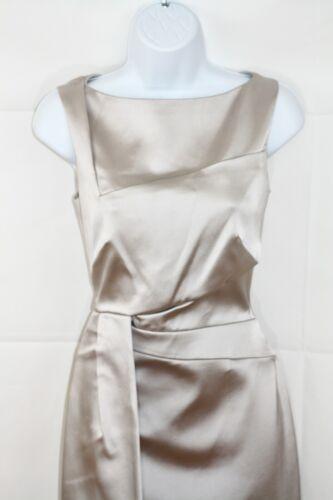 KAREN MILLEN Oyster/Plateado Satinado Cuello Bote Vestido Ocasión Especial 10 usado una vez