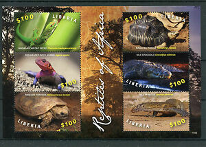 Liberia-2015-neuf-sans-charniere-reptiles-of-africa-6v-m-s-tortues-lezards-geckos-agamas-timbres