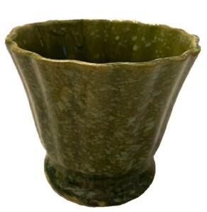 """Vintage Planter Brush McCoy Pottery USA Green Mottled Glazed . 4.5"""" tall"""
