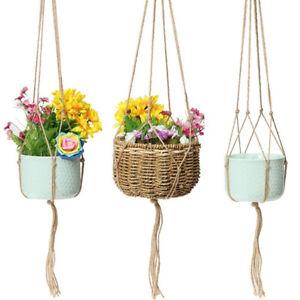 Vintage-Knotted-Plant-Hanger-Basket-Flowerpot-Holder-Macrame-Lifting-Rope