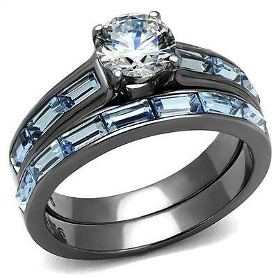 Black Stainless Steel Clear Round & Blue Sapphire CZ Wedding Promise  2 Ring Set
