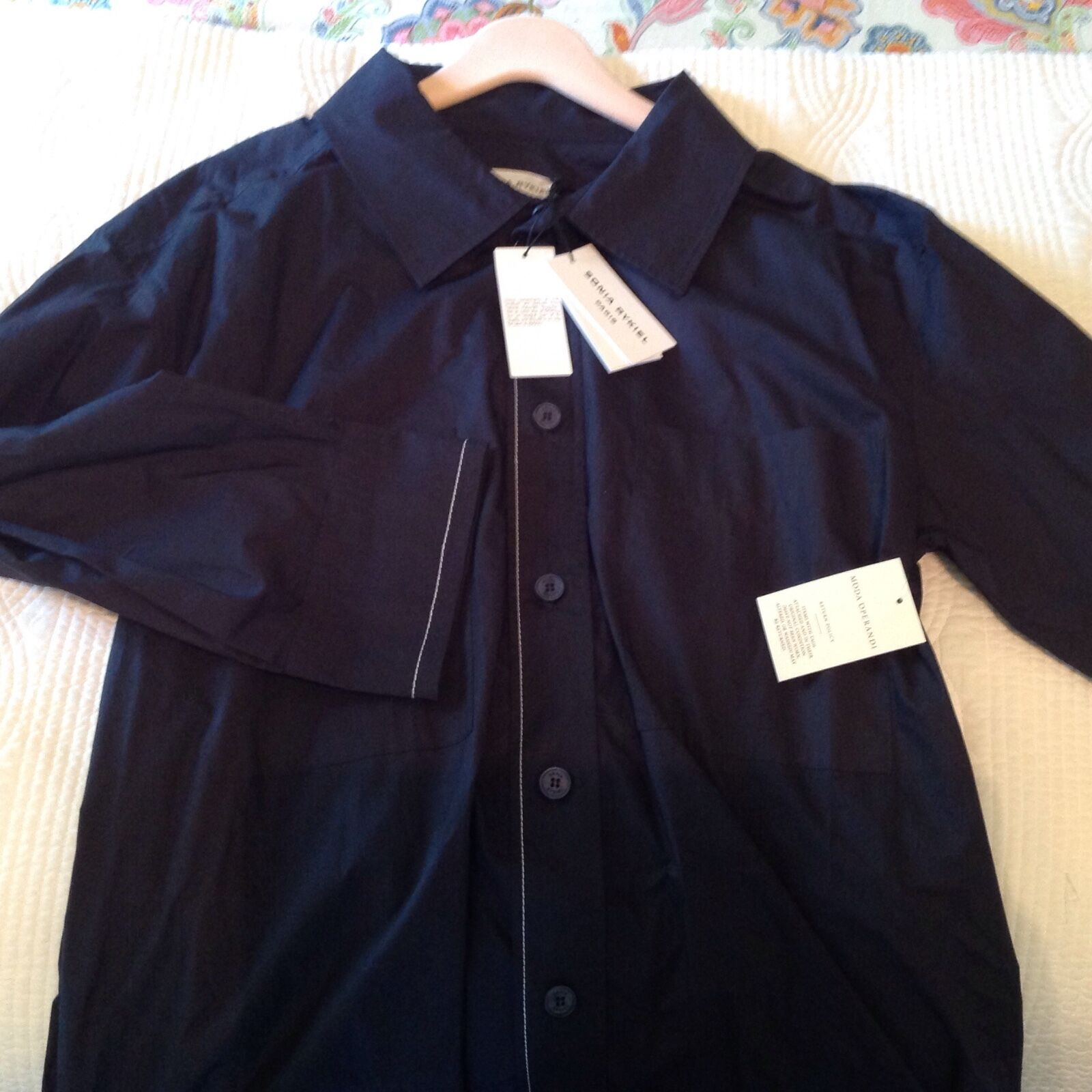 Sonia Rykiel Paris parachute parachute parachute shirt dress Navy blueee oversized 34 9f28c4