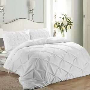Pintuck-White-Pleated-Duvet-Cover-Set-Cotton-Bedding-Sheets-King-White
