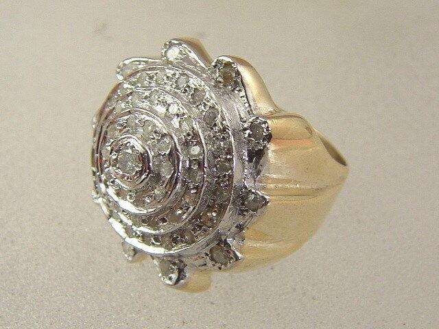 10K MEN'S DIAMOND RING 10 KARAT gold HIP HOP SAW BLADE DIAMOND BLING TRENDY RING