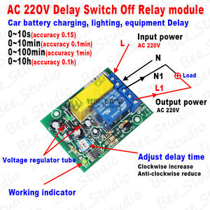 AC 220V Delay Timing Timer Time Counter Switch Delay Turn Off Relay ...