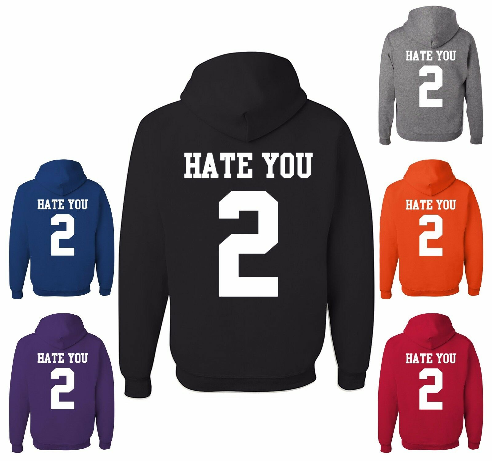 Hate U 2 Funny Hoodie Offensive Adult Humor College Party Drinking Sweatshirt