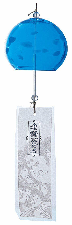 Aderia Tsugaru Vidro Glassware Furin Wind Bell Bleu F-75373 MADE IN JAPAN