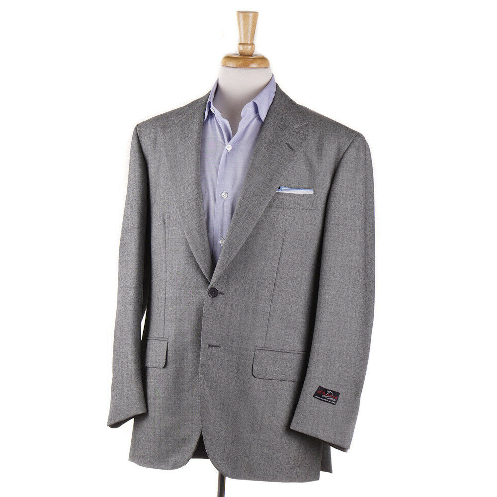 New 2995 D'AVENZA Light grau Tic Weave Wool Blazer 40 R Sport Coat