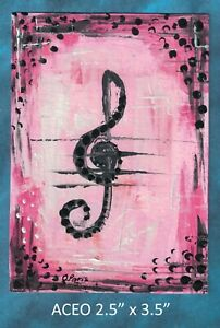 Original-ACEO-Musical-Note-Abstract-miniature-acrylic-painting-not-framed