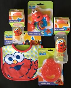 Sesame-Street-Beginnings-ELMO-Feeding-Time-Essentials-5-PC-Gift-Set-Wrapped-NEW