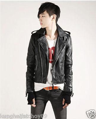 New Men's pu Leather Jacket Black Slim fit Biker Motorcycle jacket