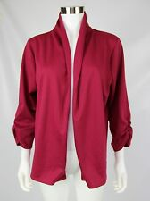 Maurices Womens Plus Size 1 Red Ruched 3/4 Sleeve Open Front Stretch Knit Blazer