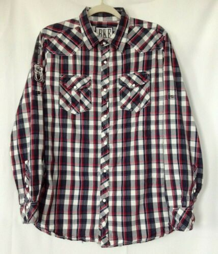 BKE Men Size L Slim Snap Button Shirt Plaid Checke