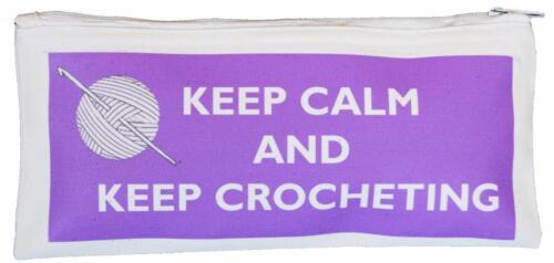 Keep Calm /& mantener Tejido A Crochet-Algodón Crochet Gancho Funda-suministrado vacío púrpura