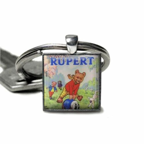 Rupert The Bear Keyring Handmade Gift Silver Plated Rupert Bear keyring UK Made