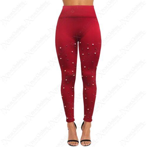 WOMENS HIGH WAIST LEGGINGS SLIM SKINNY PEARL STRETCH FLEECE LINED JEGGING PANTS