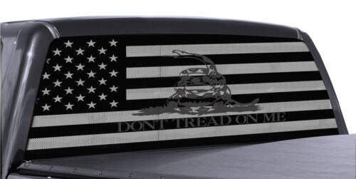 Truck Rear Window  Dont Tread On Me Gadsden American Flag Perforated Vinyl decal