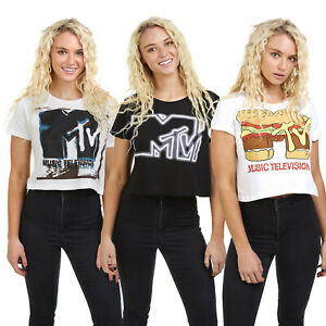 MTV-Logo-Official-Licensed-Ladies-Cropped-T-shirts-Sizes-S-XL