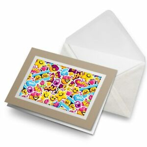 Greetings-Card-Biege-Funny-Yellow-Smile-Face-Icons-14745