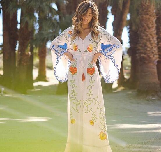 Hot Womens Blend White Embroidery  V  Collar Cotton Full-Length Casual Dress