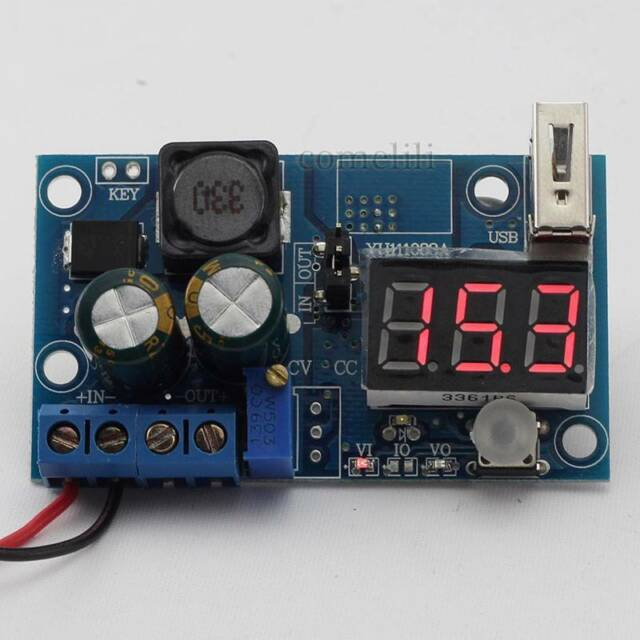LM2596 DC Power Supply Adjustable Converter Step-Down Module LED Voltmeter + USB