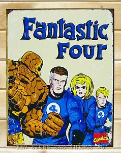Fantastic Four Retro TIN SIGN vtg metal wall decor marvel comic ...